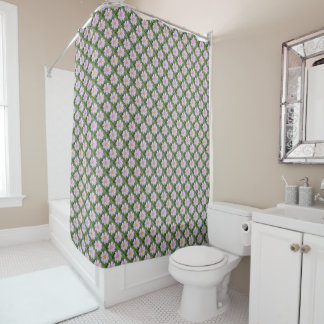 Cosmos - Pale Pink & Green ECHO PRINT - Shower Curtain