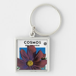 Cosmos Silver-Colored Square Key Ring