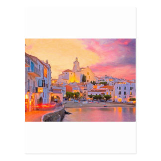 costa brava spain pastel post card