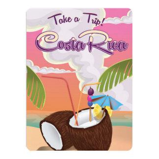 costa Rica Cartoon travel poster. 17 Cm X 22 Cm Invitation Card