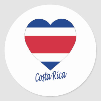 Costa Rica (civil) Flag Heart Classic Round Sticker
