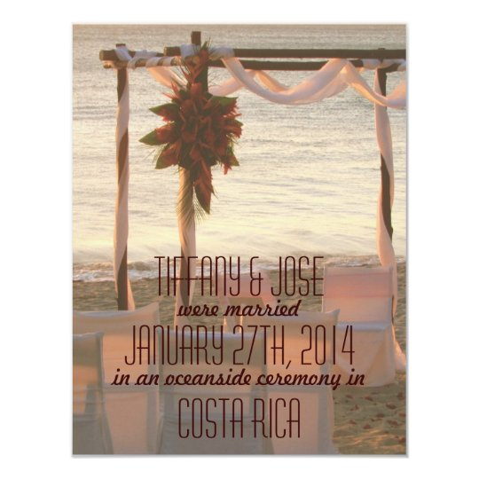 Costa Rica Destination Wedding Announcement/Invite Card