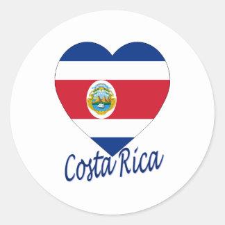 Costa Rica Flag Heart Classic Round Sticker