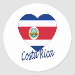 Costa Rica Flag Heart Round Sticker