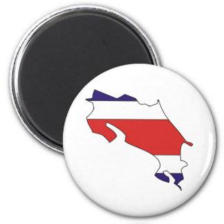 Costa Rica Flag Map full size 6 Cm Round Magnet