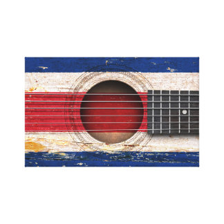 Costa Rica Flag on Old Acoustic Guitar Canvas Prints