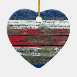 Costa Rica Flag on Rough Wood Boards Effect Christmas Ornament