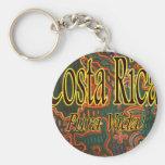 Costa Rica Folk Art Pura Vida Basic Round Button Key Ring