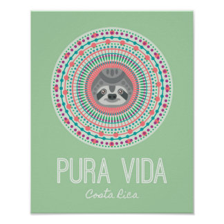 Costa Rica Green Sloth Mandala Art Print