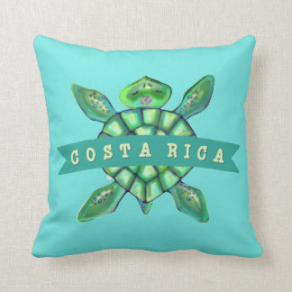 Costa Rica Kids Watercolor Sea Turtle Pillow
