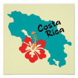 Costa Rica map art with hibiscus flower Poster