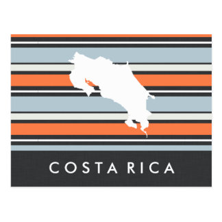 Costa Rica Map: Modern Stripes Postcard