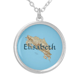 Costa Rica Map + Name Necklace
