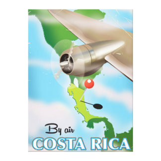 Costa Rica Map vintage travel poster Canvas Print