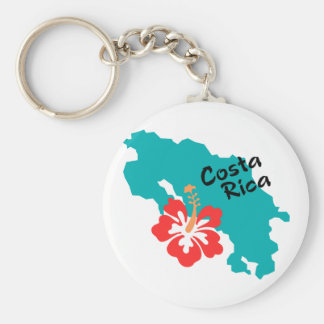Costa Rica map with hibiscus Key Ring