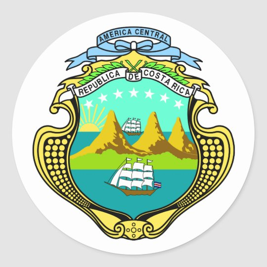 Costa Rica Official Coat Of Arms Heraldry Symbol Classic Round Sticker
