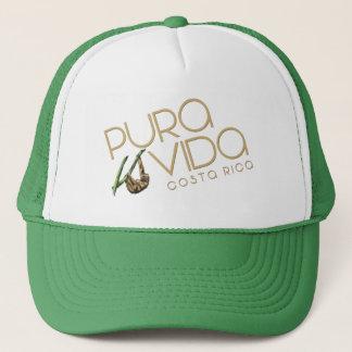 Costa Rica Pura Vida Summer Sloth Green Souvenir Trucker Hat