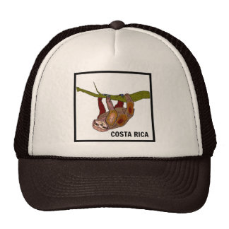 Costa Rica Sloth Souvenir Brown Trucker Hat