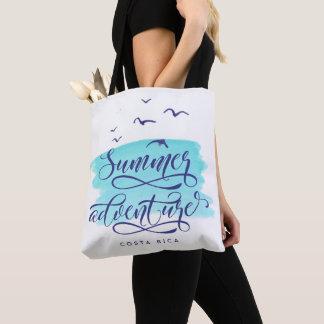 Costa Rica Summer Adventure Beach Watercolor Tote Bag