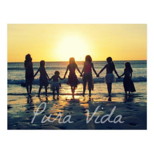 Costa Rica Sunset Kids Pura Vida Postcard