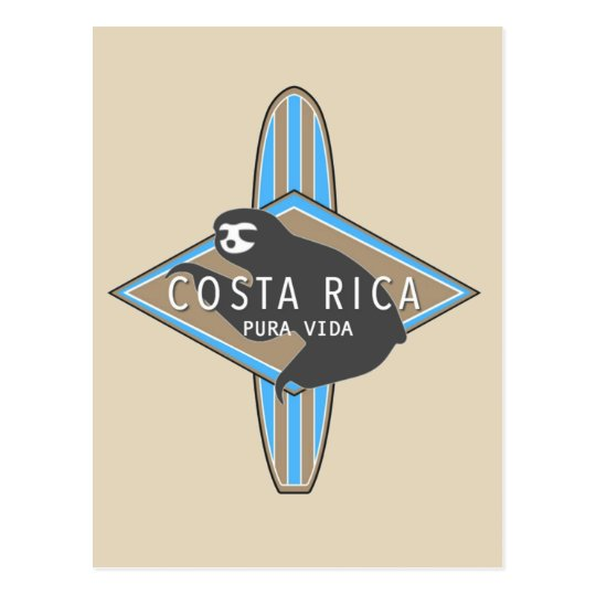 Costa Rica Surfing Sloth Postcard
