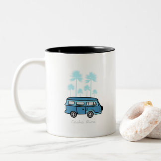 Costa Rica Travel Van with Palm Trees Two-Tone Coffee Mug