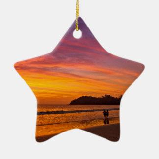 Costa Rican couple at sunset Ceramic Star Decoration