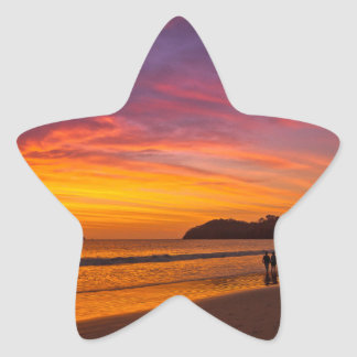 Costa Rican couple at sunset Star Sticker