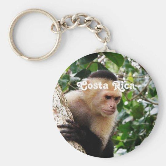 Costa Rican Monkey Basic Round Button Key Ring