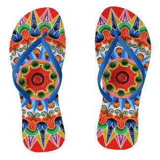 Costa Rican Oxcartwheel Art Flip Flops
