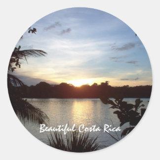 Costa Rican Sunset - Tortuguero Evening Classic Round Sticker