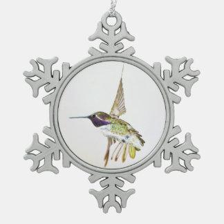 Costa's Hummingbird Pewter Snowflake Decoration