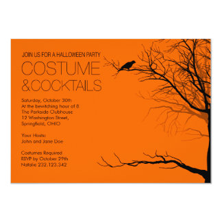 "Costume and Cocktails Halloween 4.5"" X 6.25"" Invitation Card"