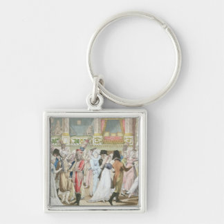 Costume Ball at the Opera, after 1800 Silver-Colored Square Key Ring