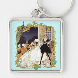 Costume Ball Vintage Style Versailles Art Design Silver-Colored Square Key Ring