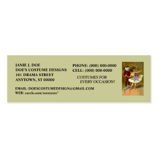 COSTUME BOUTIQUE ~ COSTUME DESIGNER ~BOOKMARK CARD PACK OF SKINNY BUSINESS CARDS