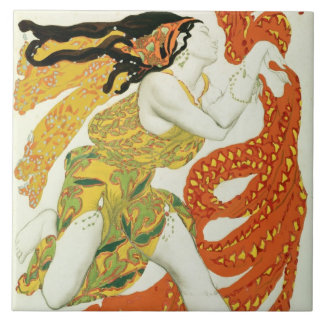 Costume design for a bacchante in 'Narcisse' Large Square Tile