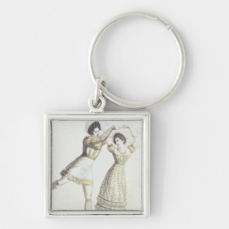 Costume design for a ballet Silver-Colored square key ring