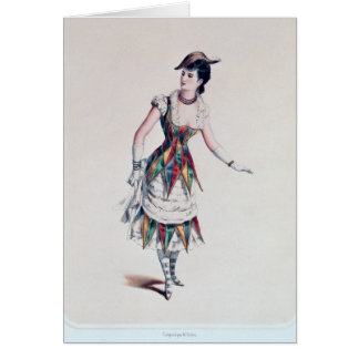 Costume design for a female harlequin, c.1880 card