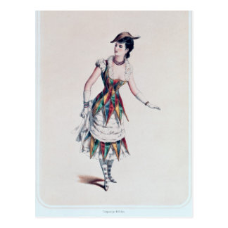 Costume design for a female harlequin, c.1880 postcard