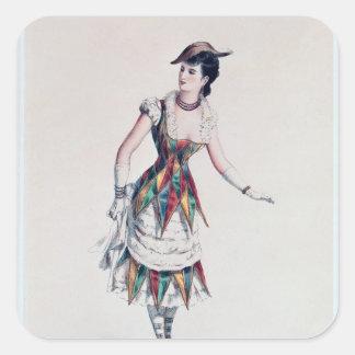Costume design for a female harlequin, c.1880 square sticker
