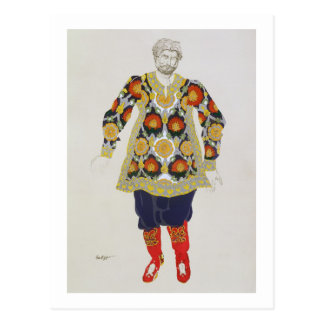 Costume design for a man, from Sadko, 1917 (colour Postcard