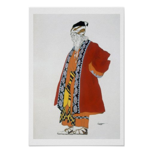 Costume design for an old man in a red coat (colou posters