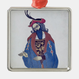 Costume design for Blue-Beard, from Sleeping Beaut Silver-Colored Square Decoration