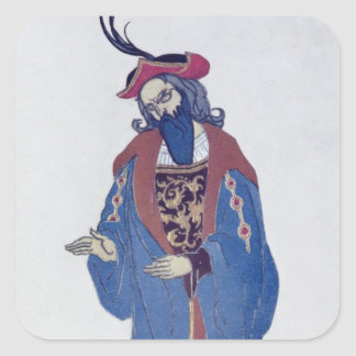 Costume design for Blue-Beard, from Sleeping Beaut Square Sticker