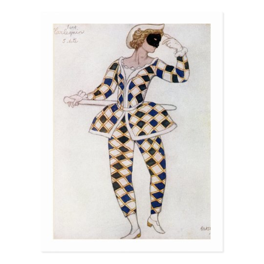 Costume design for Harlequin, from Sleeping Beauty Postcard
