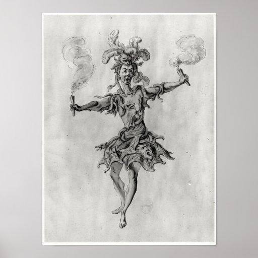 Costume design for the ballet 'Medusa' Print