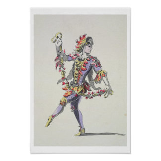 Costume design for Triton, in a 17th century balle Poster