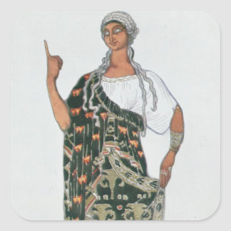 Costume design from Phedre, 1917 (colour litho) Square Sticker