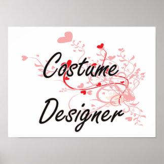 Costume Designer Artistic Job Design with Hearts Poster